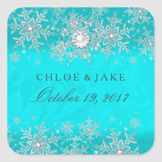 Teal Crystal Pearl Snowflake Silver Wedding Square Sticker