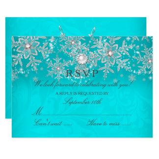 Teal Crystal Pearl Snowflake Silver Winter RSVP Card
