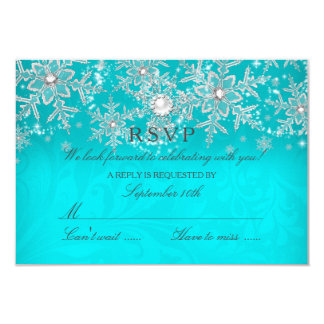 Teal Crystal Pearl Snowflake Silver Winter RSVP Card