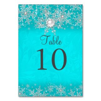 Teal Crystal Pearl Snowflake Table Number Card