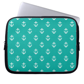 Teal Cute Anchor Pattern Computer Sleeve