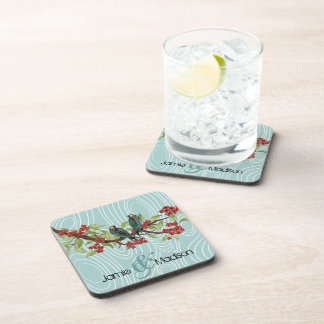 Teal Cute Birds Sitting in Tree Red Cherry Blossom Coaster