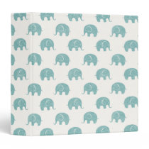 Teal Cute Elephant Pattern Binder