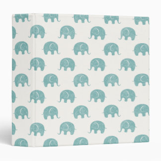 Teal Cute Elephant Pattern Binder