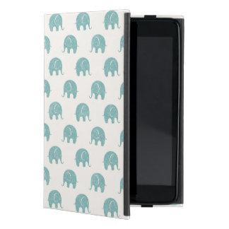 Teal Cute Elephant Pattern iPad Mini Case