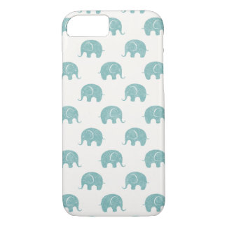 Teal Cute Elephant Pattern iPhone 8/7 Case