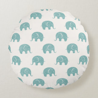 Teal Cute Elephant Pattern Round Pillow