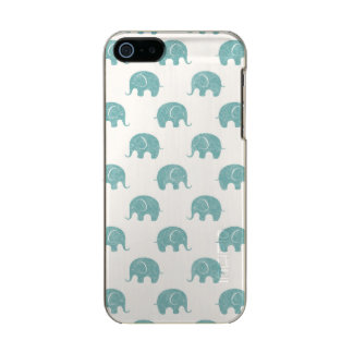 Teal Cute Elephant Pattern Metallic iPhone SE/5/5s Case