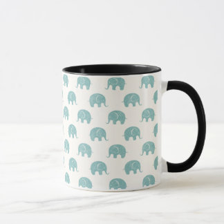 Teal Cute Elephant Pattern Mug