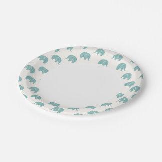 Teal Cute Elephant Pattern Paper Plate