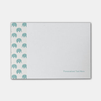 Teal Cute Elephant Pattern Post-it® Notes