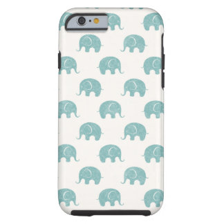 Teal Cute Elephant Pattern Tough iPhone 6 Case