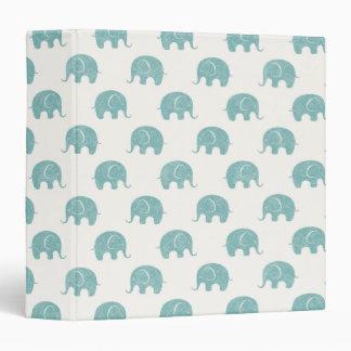 Teal Cute Elephant Pattern Vinyl Binder