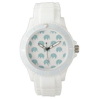 Teal Cute Elephant Pattern Watch
