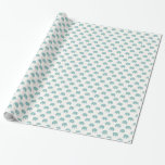 Teal Cute Elephant Pattern Wrapping Paper