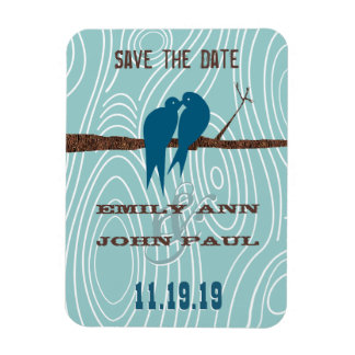 Teal Cute Kissing Love Birds Sitting in a Tree Rectangle Magnets
