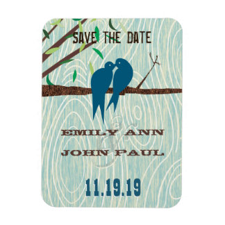 Teal Cute Kissing Love Birds Sitting in a Tree Rectangular Magnets