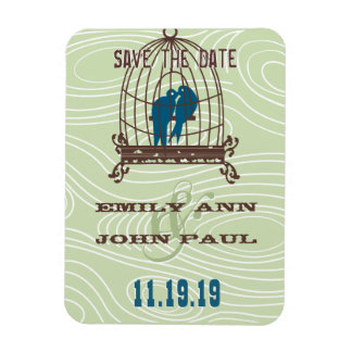 Teal Cute Kissing Love Birds Sitting in Bird Cage Rectangle Magnet