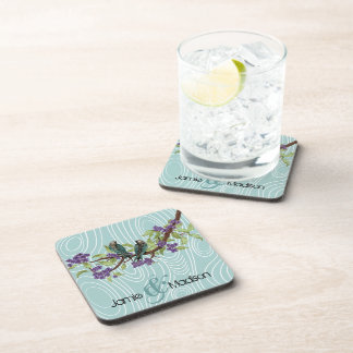 Teal Cute Love Birds Sitting in Tree Drink Coaster