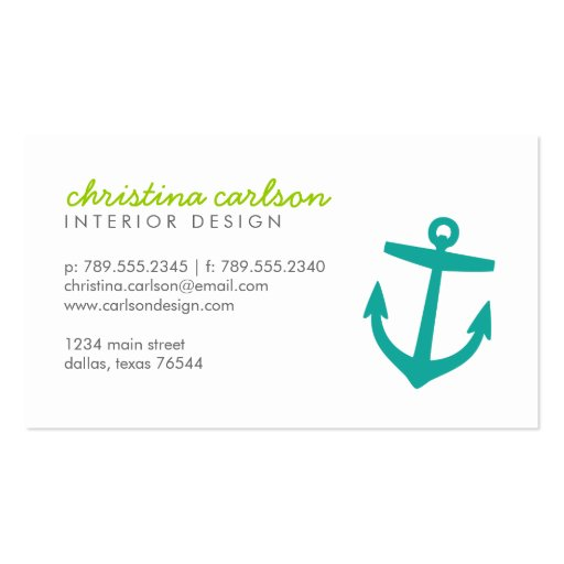 Teal Cute Nautical Anchor and Stripes Business Cards