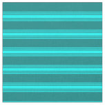 [ Thumbnail: Teal & Cyan Colored Lines Pattern Fabric ]