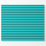 [ Thumbnail: Teal & Cyan Colored Lines Pattern Wrapping Paper ]