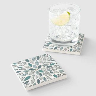 Teal Dahlia Flower Stone Coaster