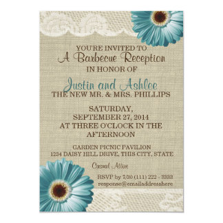 Teal Daisy and Burlap BBQ Wedding Reception 5x7 Paper Invitation Card