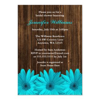"Teal Daisy Barn Wood Bridal Shower Invitations 5"" X 7"" Invitation Card"
