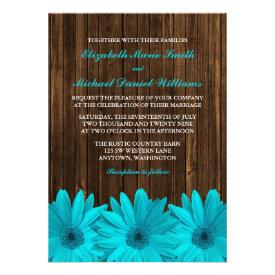 Teal Daisy Barn Wood Wedding Invitations