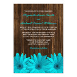 Teal Daisy Barn Wood Wedding Invitations