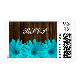 Teal Daisy Barn Wood Wedding RSVP Postage
