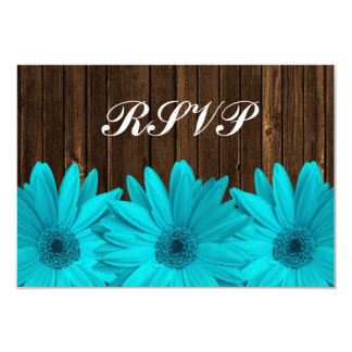 Teal Daisy Barn Wood Wedding RSVP Response Card