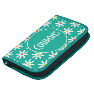 Teal Daisy Dots Coupon Folio Planners