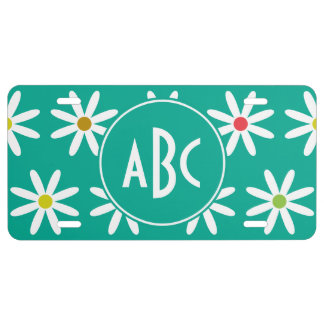Teal Daisy Dots Monogram License Plate