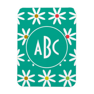 Teal Daisy Dots Monogram Magnet