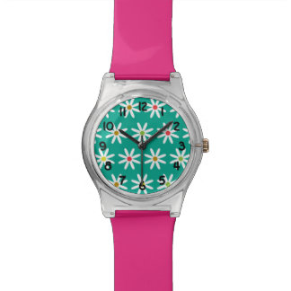 Teal Daisy Dots Watch