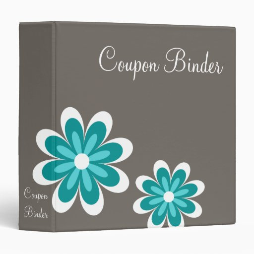 Teal Daisy Flowers Coupon Organizer 3 Ring Binders