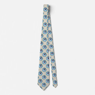 Teal Daisy on Stone Leather Texture Print Tie