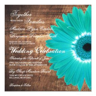 "Teal Daisy Rustic Wood Wedding Invitations 5.25"" Square Invitation Card"