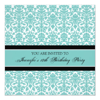 Teal Damask 18th Birthday Party Invitations