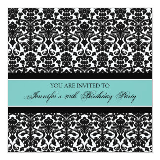 Teal Damask 20th Birthday Party Invitations