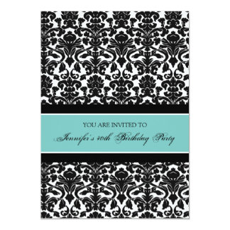Teal Damask 40th Birthday Party Invitations