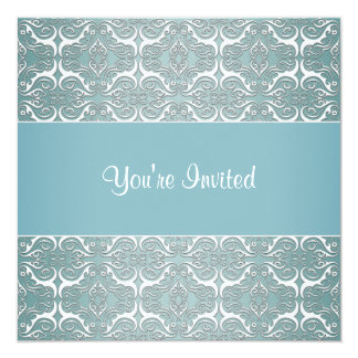 """Teal Damask All Occasion Party Template Invites 5.25"""" Square Invitation Card"""