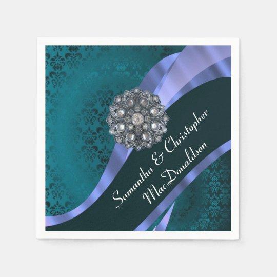 Teal damask and crystal rhinestone napkin