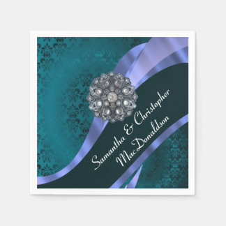 Teal damask and crystal rhinestone disposable napkins