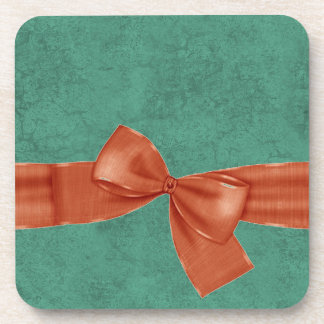 Teal Damask and Orange Printed Bow Gift Item Coaster