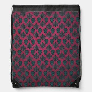 Teal Damask And Skulls On Textured Hot Pink Drawstring Backpack