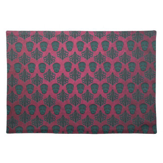 Teal Damask And Skulls On Textured Hot Pink Placemat