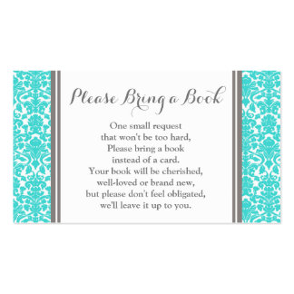 Teal Damask Baby Shower Book Request Card